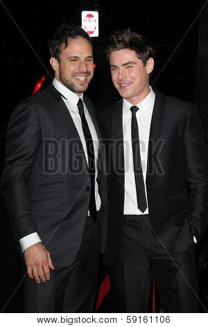 LOS ANGELES - JAN 27:  Tom Gormican, Zac Efron at the