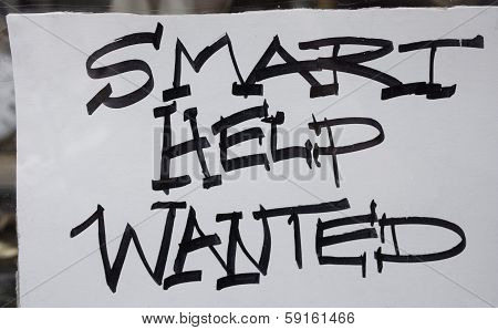 Help wanted sign,