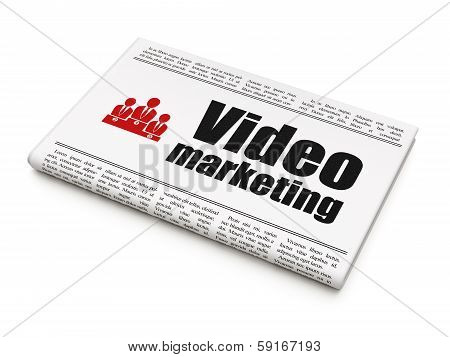 Finance concept: newspaper with Video Marketing and Business Team
