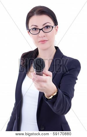 Young Female Journalist With Microphone Taking Interview Isolated On White