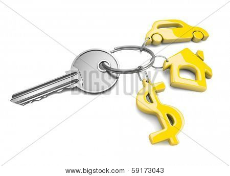Key chain. Concept of success. 3d visualization