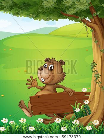 Illustration of a beaver escaping with an empty wooden signage