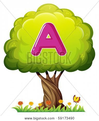 Illustration of a tree with a letter A on a white background