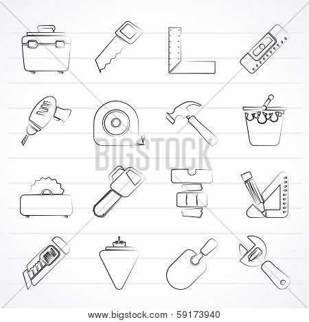 Construction objects and tools icons