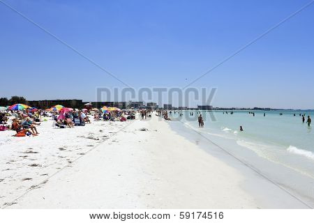 Crowds Of People At Siesta Beach