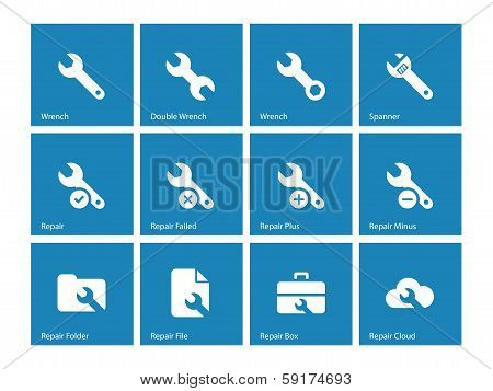 Repair Wrench icons on blue background.