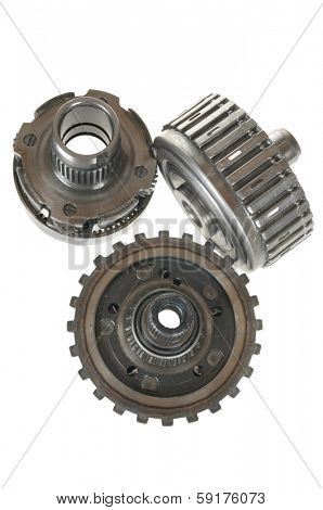 Automotive transmission gears, bearing isolated over white