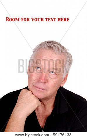 Caucasian man contemplating a perplexing problem, isolated over white with room for your text
