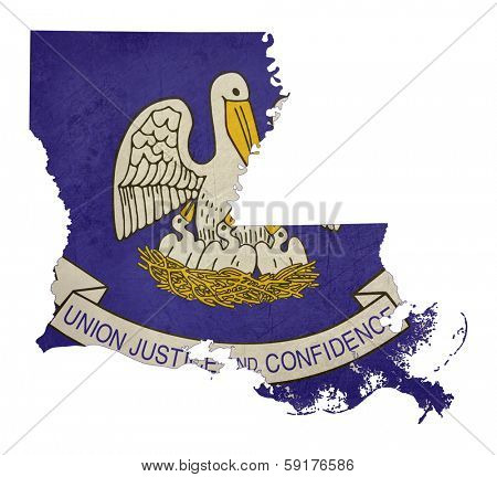 Grunge state of Louisiana flag map isolated on a white background, U.S.A.
