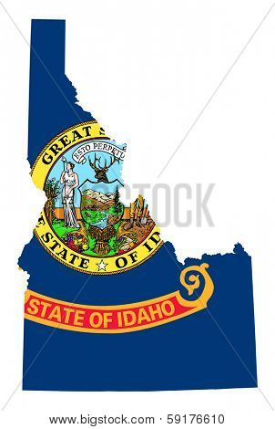 State of Idaho flag map isolated on a white background, U.S.A.