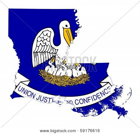 State of Louisiana flag map isolated on a white background, U.S.A.