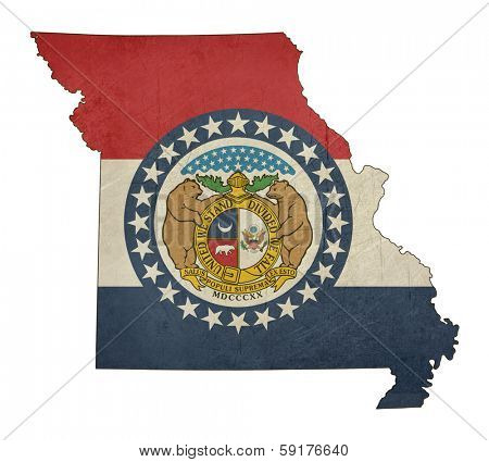 Grunge state of Missouri flag map isolated on a white background, U.S.A.