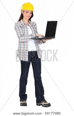 young woman entrepreneur with laptop