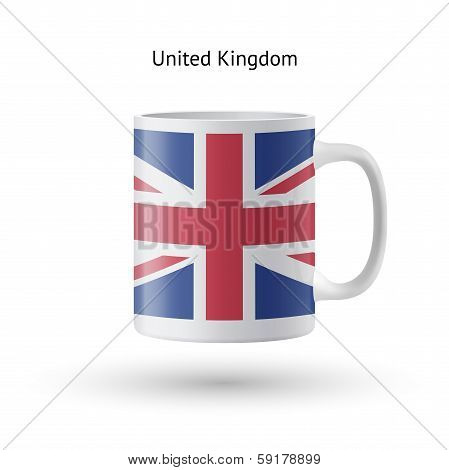 United Kingdom flag souvenir mug on white background.