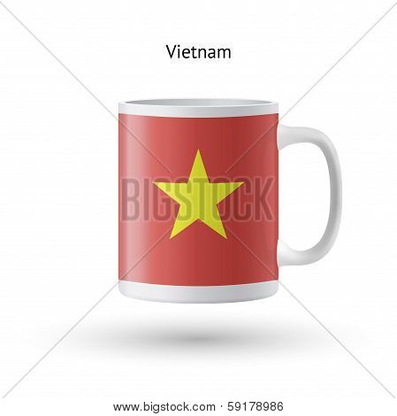Vietnam flag souvenir mug on white background.
