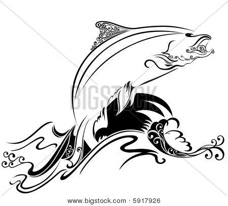 Abstract Jumping Fish Vector