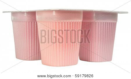 Dairy product packaging, isolated against white background.