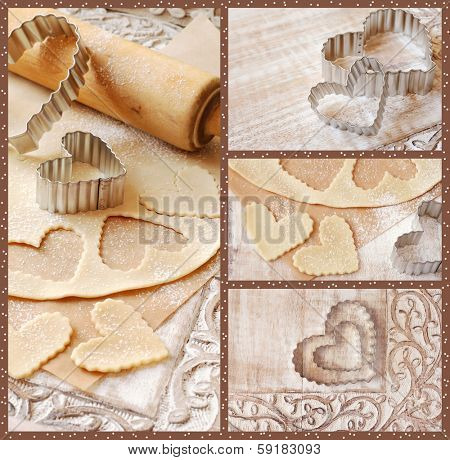 Baking collage includes images of heart shaped cookie cutters with dough and rolling pin on decorative distressed wood.  Frame embellished with polka dot pattern for 'sprinkled flour' effect.