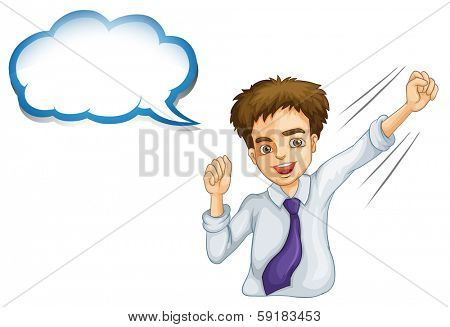 Illustration of a happy young businessman with an empty callout on a white background