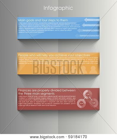 staircase of ribbons / vector illustration for presentation of data / infographics business processes