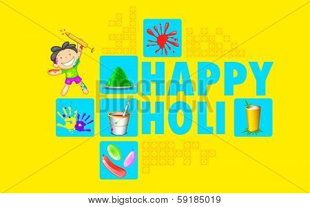 illustration of colorful Happy Holi flat design background