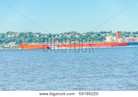 NEW YORK, OCTOBER 8, 2013 - Oil products tanker Grace Victoria passing by Hudson river.  She is registered in Panama