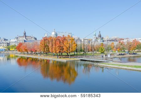 MONTREAL, CANADA, OCTOBER 12, 2013 - Ile Bonsecours and Bonsecours Basin with Bonsecours Market, the hallmark of Old Montreal, in background