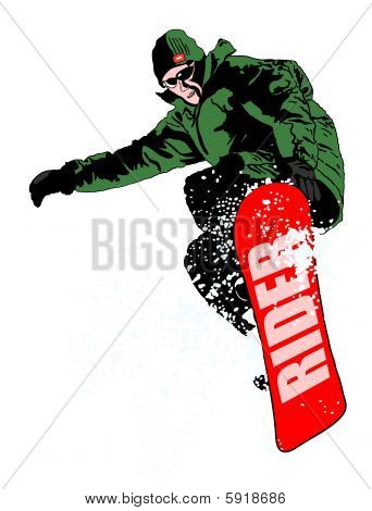 Snowboarder jumping on white background
