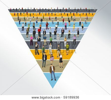 Template for advertising brochure with business people over funnel shape