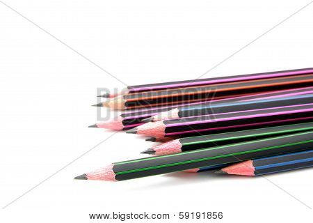 Close up Pencil isolated on white background