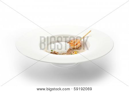 Cream of Sunroot Soup with Shrimps and Tartufo
