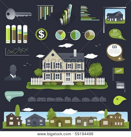 Real estate infographics design with house and elements