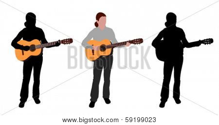 woman playing acoustic guitar silhouette and illustration
