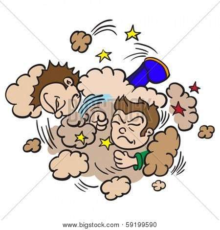 cartoon illustration of  two boys fighting in a cloud of dust