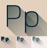picture of letter p  - Vector illustration of flat modern long transparent shadow alphabet - JPG