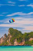 stock photo of parasailing  - Parasailing Sky Tourist Attraction - JPG