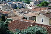 image of avignon  - View on rooftops of old town of Avignon Provence France - JPG