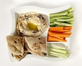 pic of crudites  - Top view of a dip tray with hummus - JPG