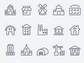 stock photo of windmills  - Set of house icons - JPG