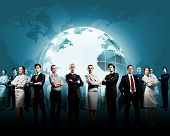 stock photo of globalization  - Group of successful confident businesspeople - JPG