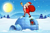 image of igloo  - Illustration of Santa standing above an igloo on a white background - JPG