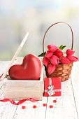 picture of casket  - Romantic still life with heart in wooden casket - JPG