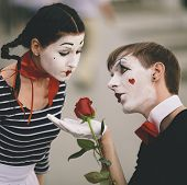 picture of clown rose  - couple of  mime with red rose - JPG
