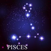 stock photo of zodiac  - Pisces zodiac sign of the beautiful bright stars on the background of cosmic sky - JPG