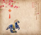 Ceramic horse souvenir on old paper,traditional chinese calligraphy art means success with horse, 20
