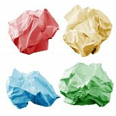 Colorful crumpled paper wads