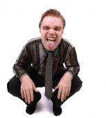stock photo of imbecile  - portrait of manager on the white background - JPG