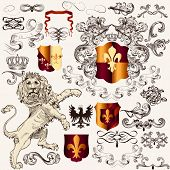 Heraldic Set Of Vector  Design Elements In Vintage Style