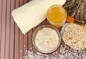 stock photo of sea oats  - Homemade facial mask with oats and honey - JPG