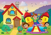 stock photo of bounce house  - Children playing near house theme 3  - JPG
